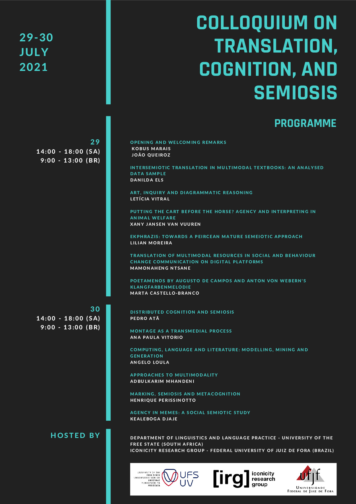 FINAL FINAL PROGRAMME Colloquium on Translation, Cognition, and Semiosis